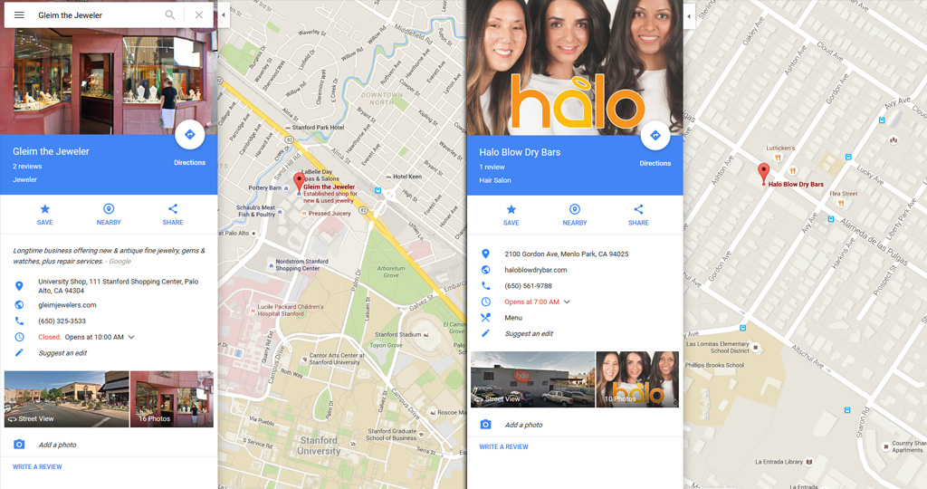 Google Plus and Google Business Places listings